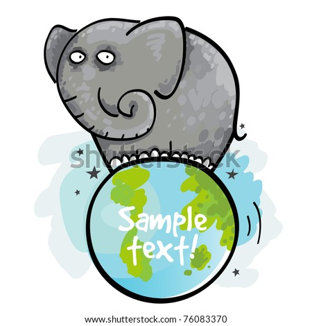Elephant and the Earth - stock vector