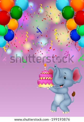 Elephant cartoon holding birthday cake - stock vector