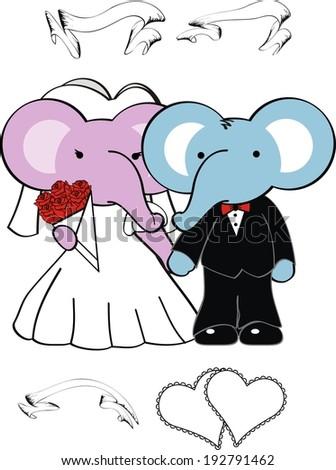 elephant cartoon wedding set in vector format very easy to edit - stock vector