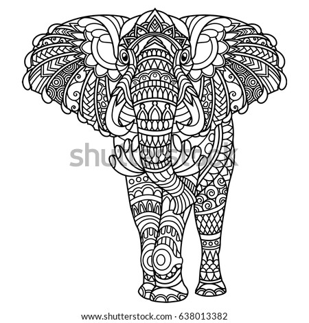 Elephant Coloring Book Adults Stock Vector (Royalty Free) 638013382 ...