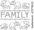 elephant family - stock vector