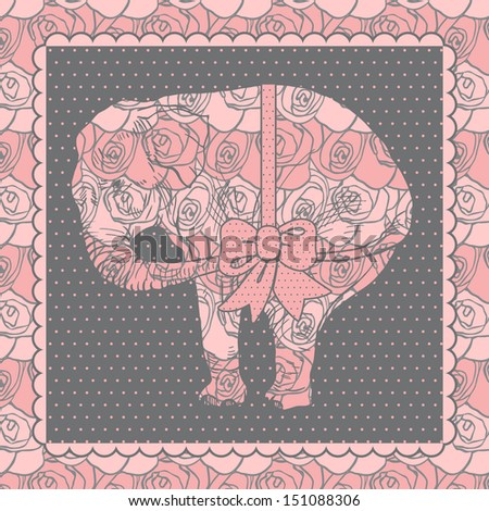 Elephant Gift ornate with Roses and Bow, Greeting Card - stock vector