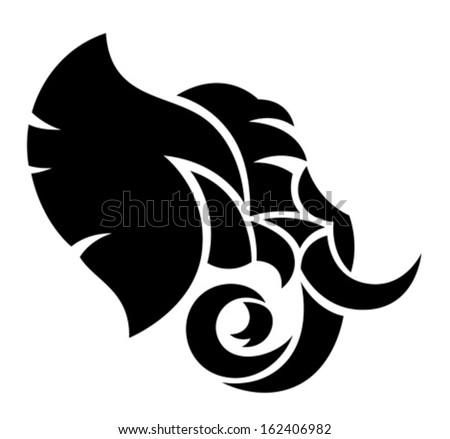 Elephant head - stock vector