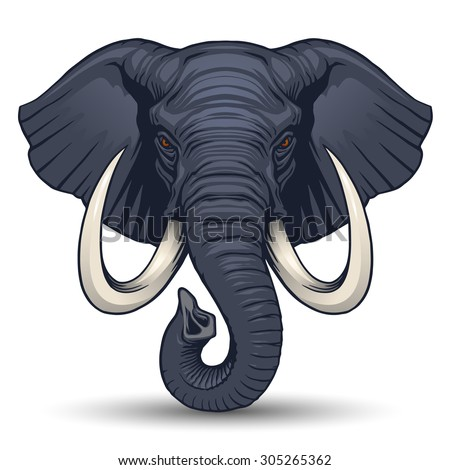 Elephant head - stock vector