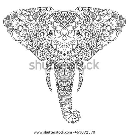Elephant Head Adult Antistress Coloring Page Stock Vector ...