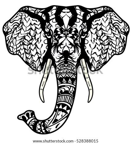 Elephant Head Adult Antistress Coloring Page Stock Vector (2018 ...