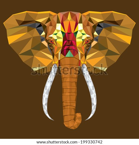 Elephant  head with geometric pattern- Vector illustration - stock vector
