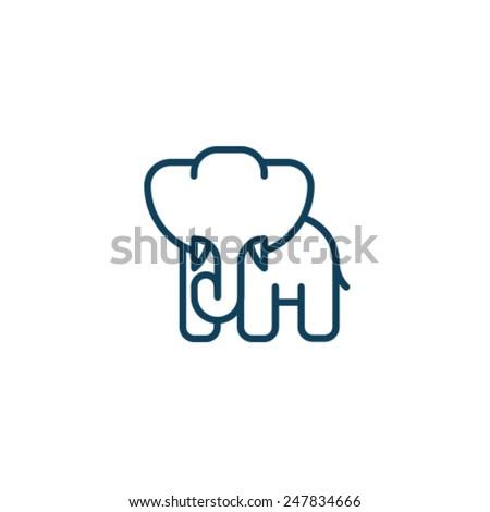 Elephant Icon Symbol Zoo Set - stock vector