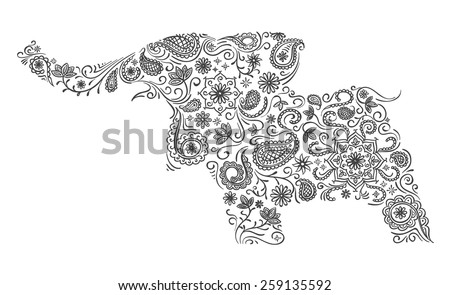Elephant illustration in classic Indian ornament - stock vector