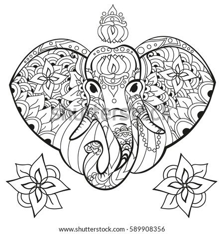 Elephant In Doodle Style Coloring Page Anti Stress For Adults And Children Animals