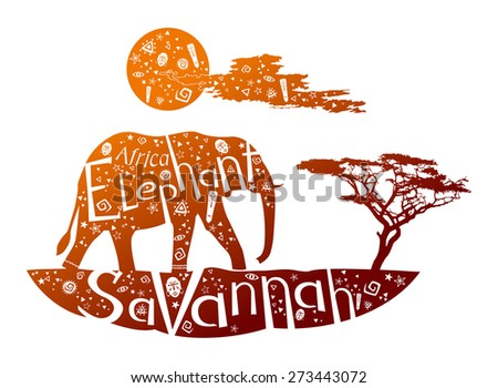 Elephant is in Africa. The illustration with background - stock vector