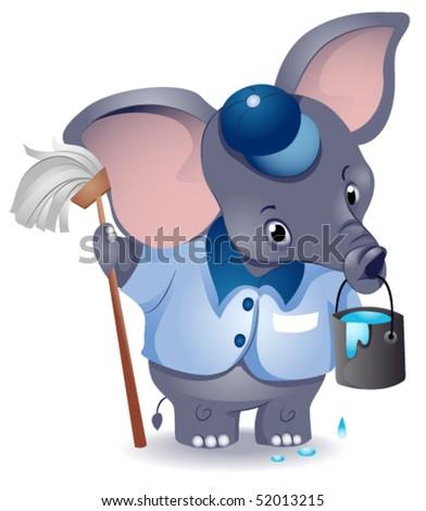 Elephant Janitor - Vector - stock vector