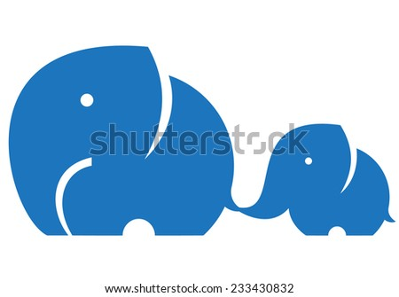 Elephant mom and child. Symbol or logo - stock vector