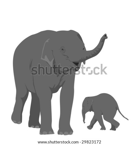 elephant mother  with her offspring - stock vector