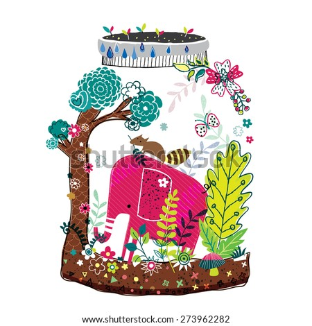 elephant nature illustration - stock vector