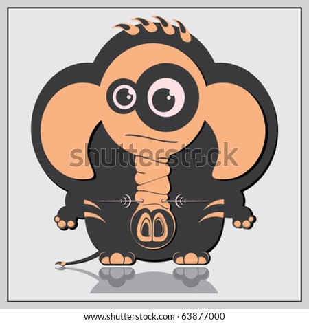 Elephant on gray background - stock vector