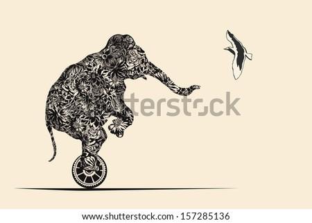 Elephant on wheel meets bird. - stock vector