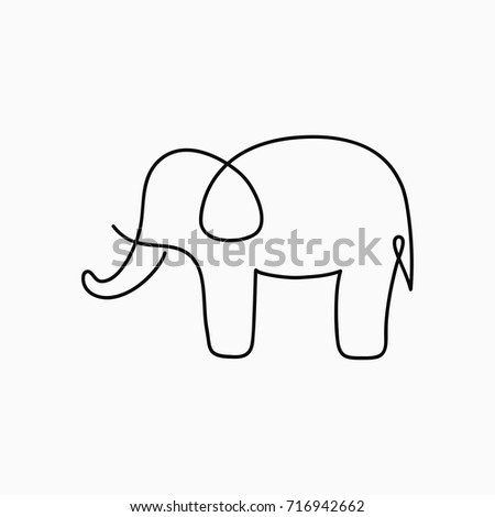 Elephant one line drawing continuous line animal hand drawn illustration for logo