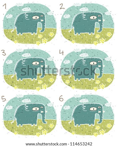 Elephant Puzzle ... Task: Find two identical images (match the pair)! ... Answer: No. 2 and 6 - stock vector