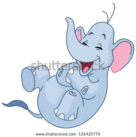 Elephant rolling on the floor laughing stock vector for Rolling on the floor laughing