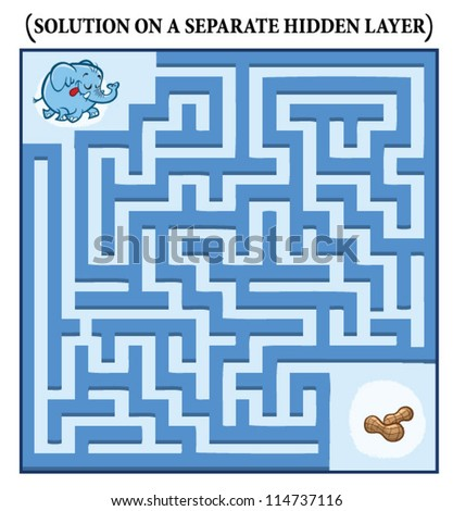 Elephant's Maze Game (help the hungry elephant to find his peanuts) - Maze puzzle with solution