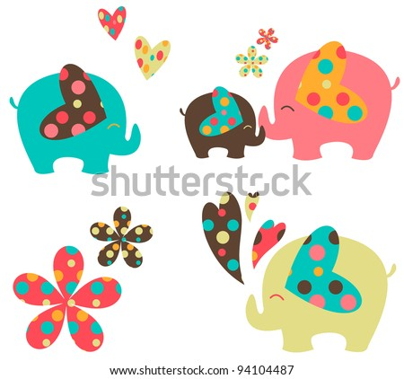 elephant set - stock vector