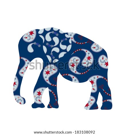 Elephant silhouette with blue Paisley, vector   - stock vector