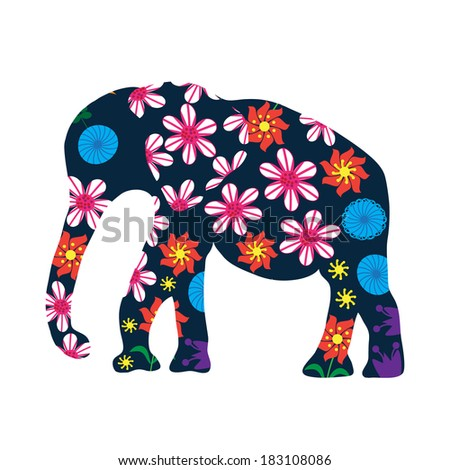 Elephant silhouette with flowers, vector  - stock vector
