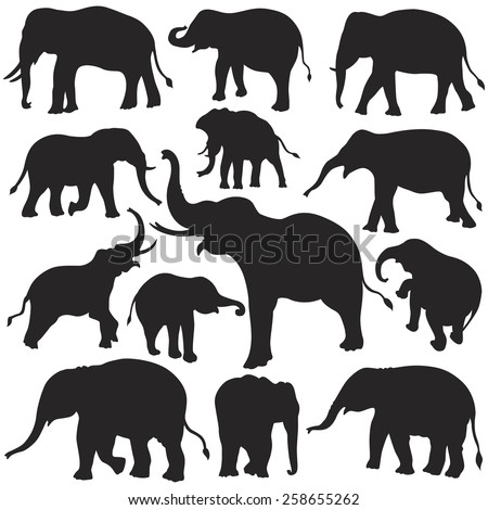 Elephant Silhouettes Set - stock vector