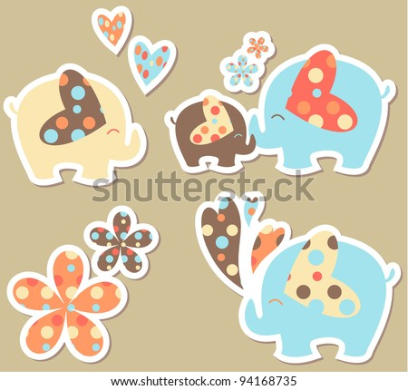elephant sticker set - stock vector
