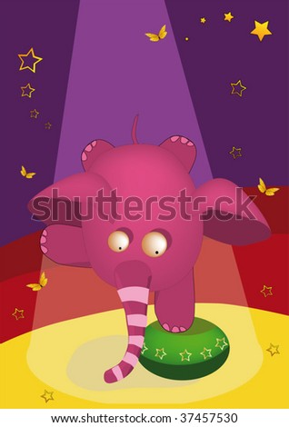 elephant the gymnast in circus - stock vector