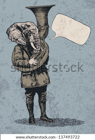 Elephant trumpet, speech bubble and grunge scratched background. vector illustration. - stock vector