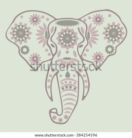 Elephant.  Vintage ornate vector ethnic elephant with tribal ornaments. Ethnic , tattoo art, yoga, African, Indian, Thai, spirituality, boho design. Use for print, posters, t-shirts and textiles.    - stock vector