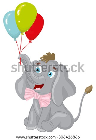 Elephant with balloons birthday card - stock vector