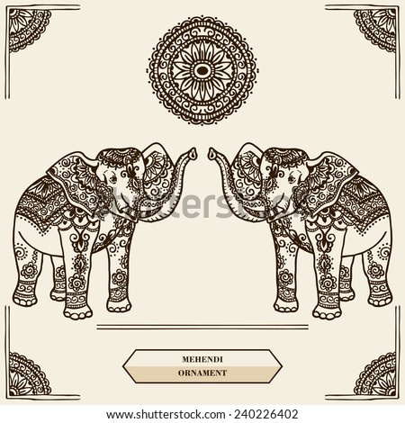 Elephant with pattern in the style of mehendi. India. - stock vector