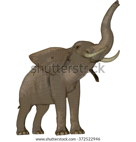 Elephant with trunk raised. Vector illustration in low poly style