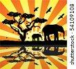 elephants, birds and butterflies in africa - stock vector