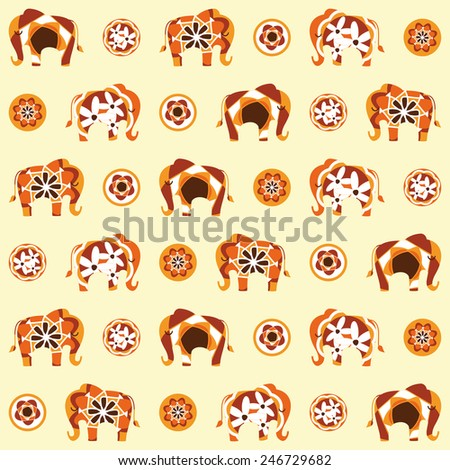 Elephants in a sixties inspired repeating pattern - stock vector