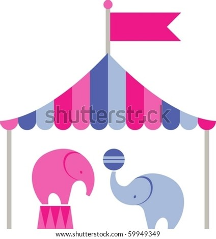 elephants in the circus - stock vector