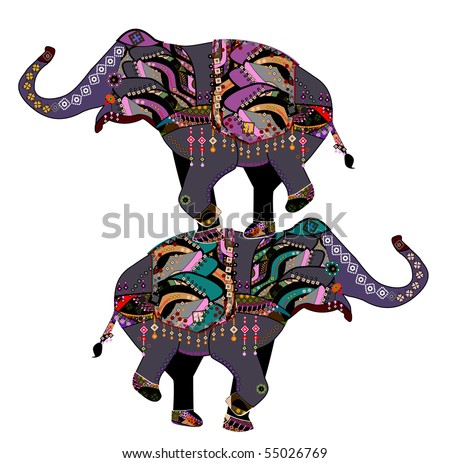 Elephants in the ethnic style with a white background - stock vector