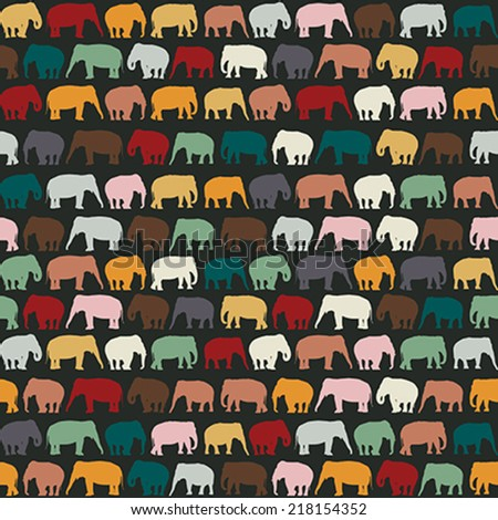 Elephants texture, seamless pattern for textile, website background, book cover, packaging. - stock vector