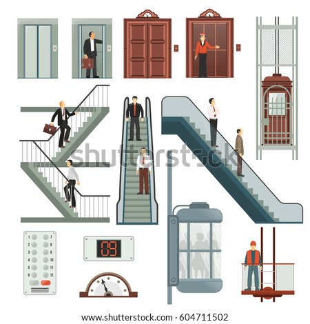 Elevator and stairs set with speed and floor symbols flat isolated vector illustration