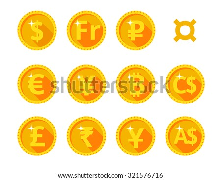 Eleven gold icons of the world of money and currency symbol. Vector illustration. Flat style. - stock vector