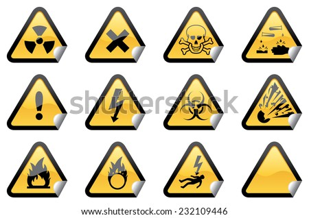 Eleven individually grouped glossy hazard warning stickers, with one blank sticker for your additions. - stock vector