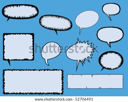 Eleven various comic book text boxes and speech bubbles. - stock vector