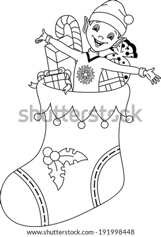 Elf Coloring Page Stock Vector 191998448 - Shutterstock