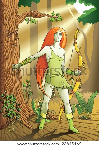 Elf female archer, a character from mythology and folklore legend, vector illustration