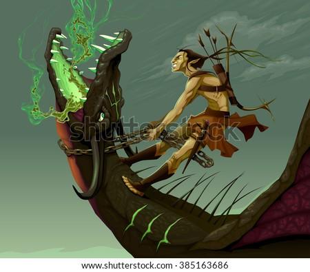 Elf is riding the dragon. Vector fantasy illustration - stock vector