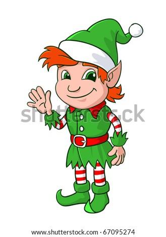 Elf. Little Santa helper. Vector illustration. - stock vector