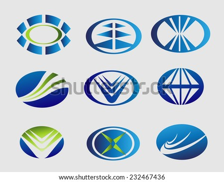 Elipse logo oval symbol set  - stock vector